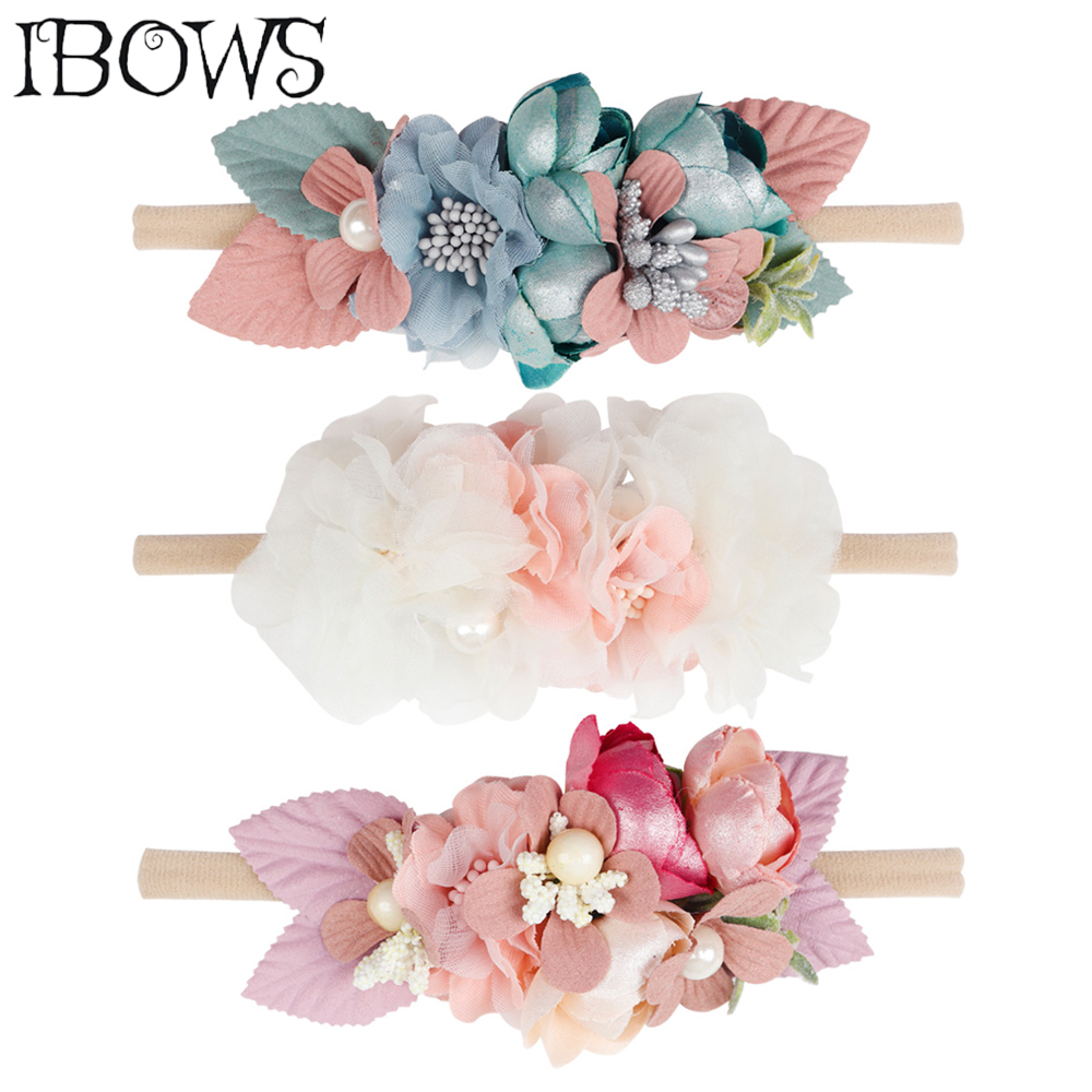 Beautiful Artificial Floral Headband Kids Lace Flower Nylon Head Bands For Newborn Elastic Hair Band Headwear Hair Accessories