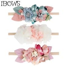 Beautiful Artificial Floral Headband Kids Lace Flower Nylon Head Bands For Newborn Elastic Hair Band Headwear Accessories