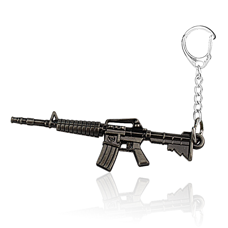 Hot Game fps AK47 Cross Fire CF Weapon Gun Keychains Retail 1PCS Cool CF Metal Pistol Key Chain Ring For Men Jewelry