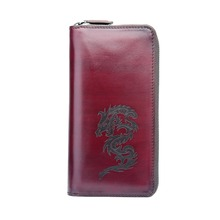 TERSE Mens wallet genuine leather purse handmade dragon purse famous brand trendy high quality Italian leather custom men purse