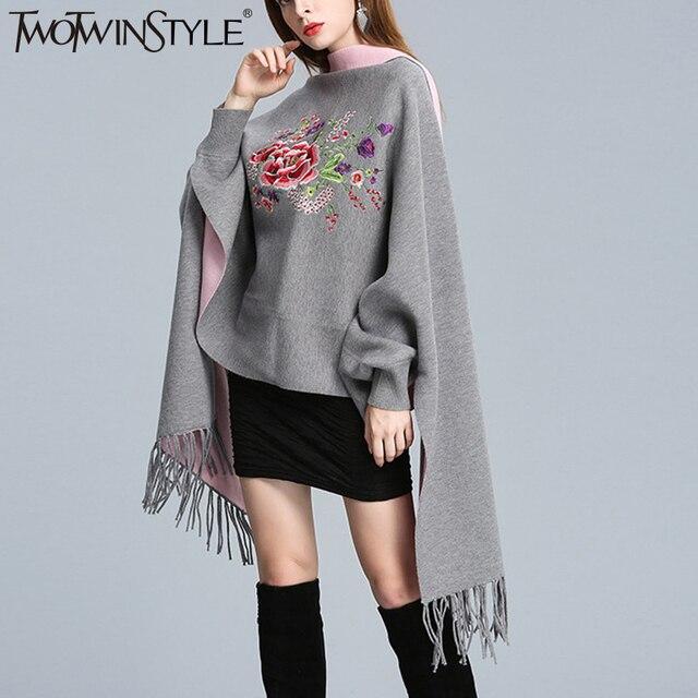 TWOTWINSTYLE סרוג ציצית ציצית גלימת סוודר נשים סתיו חורף מרובה צבע קרדיגן שרוול פנס famale מגשרי חולצות