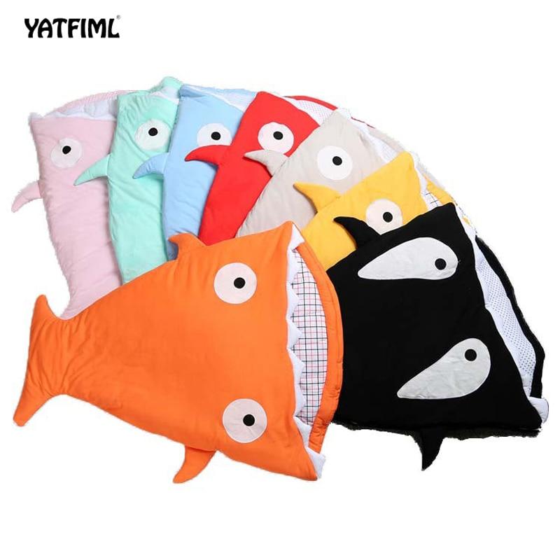 YAFFIML Small Shell Cute Shark Baby Cartoon Sleeping Bag Newborns Winter Strollers Bed Swaddle Blanket Wrap Bedding Envelope