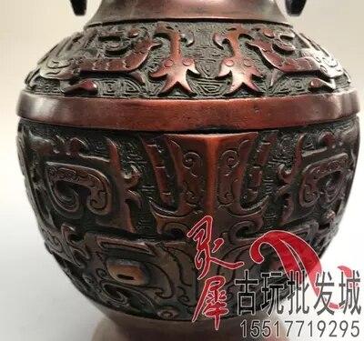 Antigo bronzes, double dragon vasos, decoração sala de estar - 4