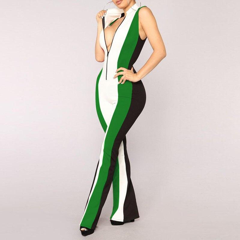 New Sexy Women Jumpsuit Sleeveless Front Zipper Patchwork Wide Legs Rompers B05JM689