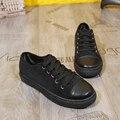 Новое прибытие весна твердые круглым носком квартир женщин обувь Освежающий зашнуровать ботинок холстины 4 цветов Сладкий полосатый плоские туфли женщина