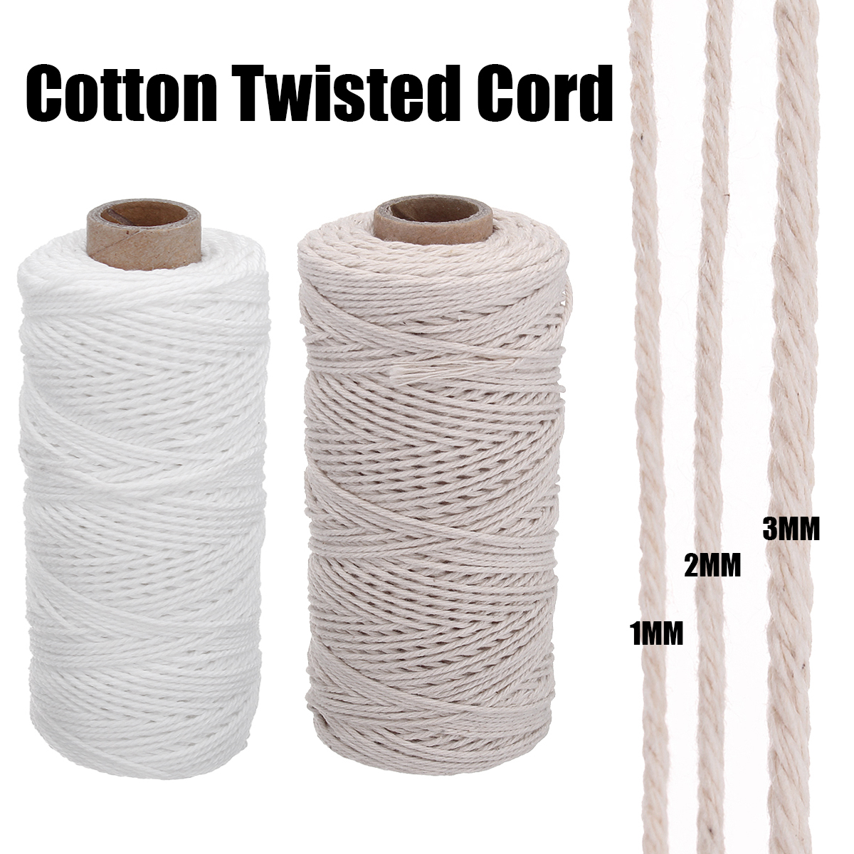 ALI shop ...  ... 32885065889 ... 4 ... 3 Size 1/2/3mm Braided Soft Beige Twisted Cotton Rope Cord Craft Macrame String DIY Handmade Tying Thread Macrame Cord Rope   ...