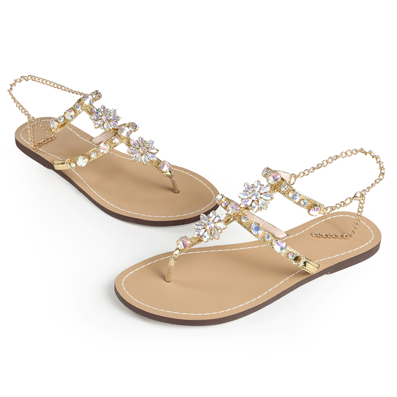 Rhinestones Chains Thong Gladiator Flat Women Sandals 4