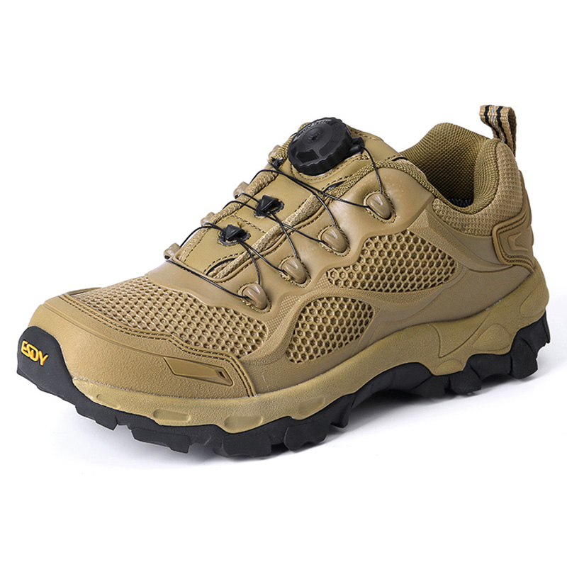 все цены на 2018 Mens Hiking Shoes Breathable Mesh Outdoor Sports Shoes Military Tactical Shoes Black Khaki For Men Free Shipping C206 онлайн
