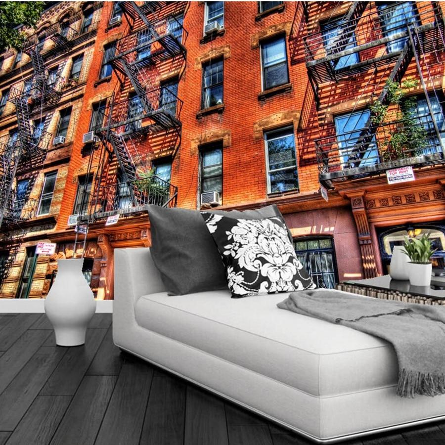 Benutzerdefinierte 3D USA Häuser Ziegel Balkon Städten tapeten, bar ...