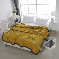 Alanna Solid Summer Quit Summer Air conditioning Quilt Soft Breathable Plaid Comforter Bed Cover Bedspread