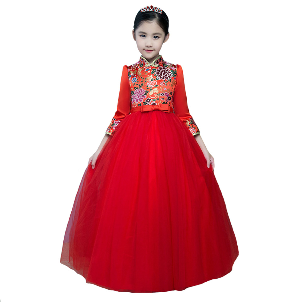 Chinese Style Elegant Girls Gown Dress Quarter Sleeve Embroidered Kids Ball Gown Dresses Communion Birthday Party DressChinese Style Elegant Girls Gown Dress Quarter Sleeve Embroidered Kids Ball Gown Dresses Communion Birthday Party Dress