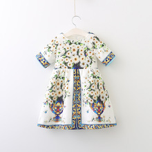 2017 Autumn New Court Style Flower Printing Dress,girls Kids