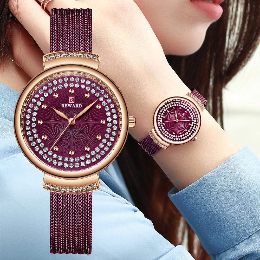 مكافأة موضة ساعات نسائية فاخرة حجر الراين الهاتفي السيدات ساعة الفولاذ المقاوم للصدأ سليم كوارتز ساعة اليد Reloj Mujer Montre فام