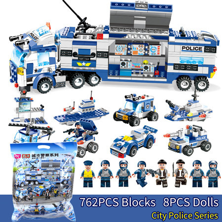 SWAT City Police Series 647PCS 762PCS  8 in 1 Truck Weapon Gun DIY Bricks Building Blocks Toy For Boy Compatible with Legoinglys