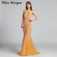 Elegant Gold Long Mermaid Evening Dresses 2018 Special Occasion Actual Images Major Beading Formal Prom Gowns For Women Wear