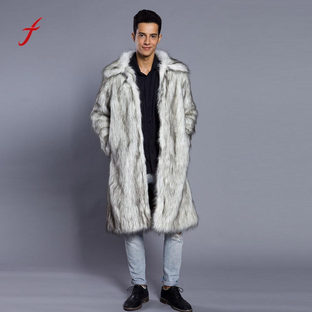 feitong Fashion Winter Jackets Mens Warm Thick Overcoat Coat Jackets Faux Fur Parka Outwear Clothing jaqueta masculina-in Parkas from Men's Clothing    1