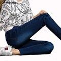 2016 de otoño e invierno mujeres de gran tamaño pantalones vaqueros elásticos femeninos pantalones vaqueros de cintura recta cintura Delgado stretch denim jeans correa XL 5XL