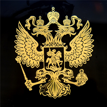 Three Ratels MT-001 7.95*9.2cm Coat of Arms of Russia Nickel Metal sticker decals Russian Federation car stickers for laptop image