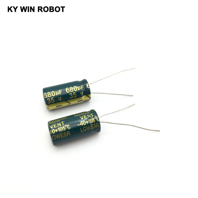 Image 5 - 10 pcs Aluminum electrolytic capacitor 680 uF 35 V 10 * 20 mm frekuensi tinggi Radial Electrolytic kapasitor-in Capacitors from Electronic Components & Supplies
