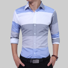Classic Striped Men Dress Shirts Long Sleeve Business Formal Shirts Male Casual Shirts Camisa Masculina Camisas Hombre 7619