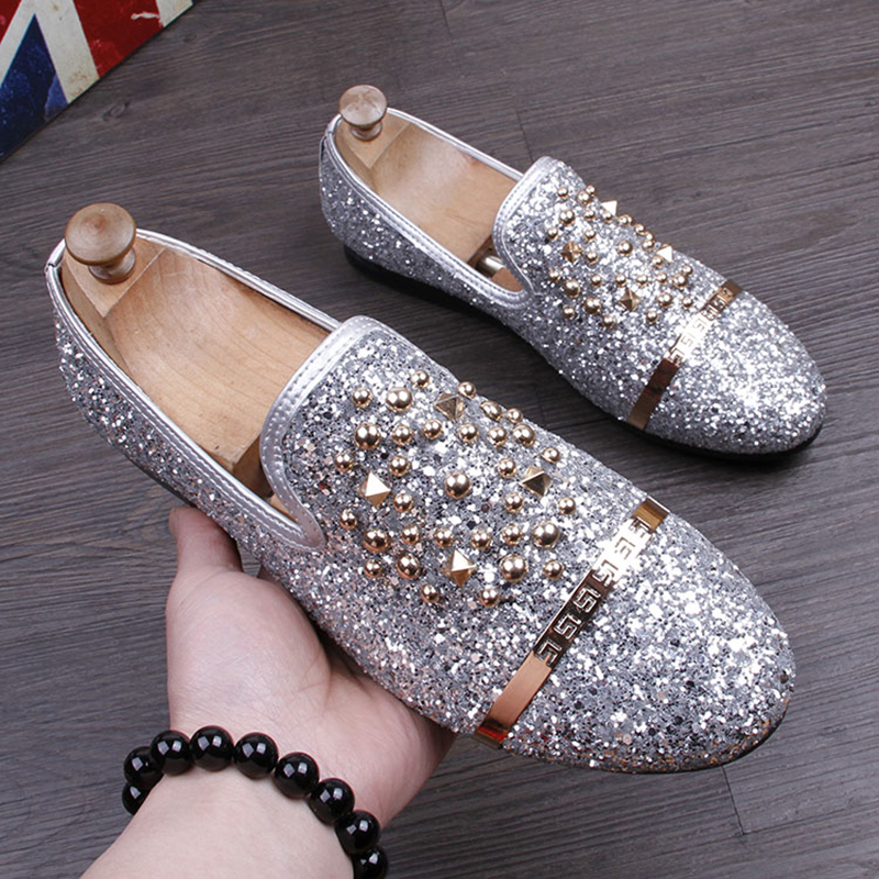 GZ Fashion Men Sequins Casual Shoes designer Luxury Rivet shoes Men party dress Shoes Zapatillas Deportivas loafers black #55 luxury pointed toe rivet casual shoes england designer party and banquet men loafers fashion young man walking street shoes