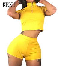 KEXU Rompers New Arrival Two Pieces Sets Sportswear Summer Casual Solid Short Sleeve Jumpsuits Women Street Playsuits