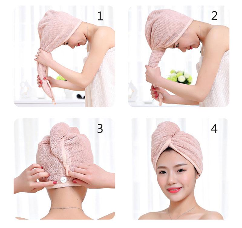 GIANTEX Japanese Polyester Cotton Women Bathroom Super Absorbent Quick-drying Bath Towel Hair Dry Cap Salon Towel 23x60cm U1031 5