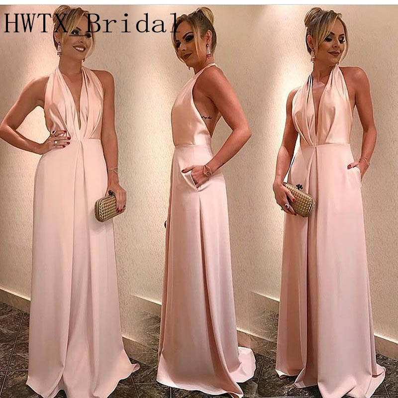 2019 Blush Pink Long   Bridesmaid     Dresses   Halter V Neck Sexy Backless A Line Satin Cheap Wedding Party   Dress   Women Formal Gowns