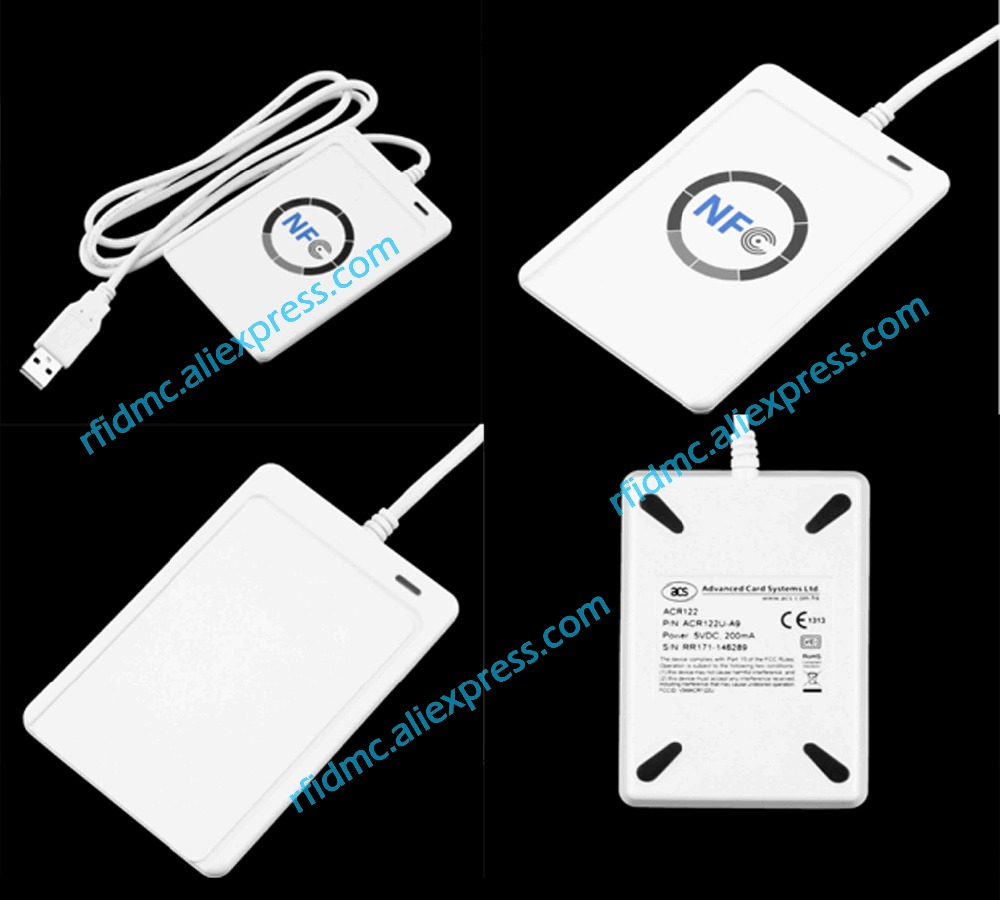 13.56MHz NFC ACR122U Reader Writer RFID Duplicator + 5pcs UID Card + SDK + MF 1K Card Copy Clone Software ...