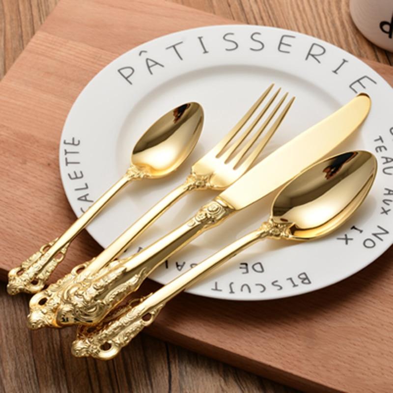 Vintage Western Gold Plated Dinnerware Dinner Fork Knife Set Golden Cutlery Set Stainless Steel 4 Pieces Engraving Tableware