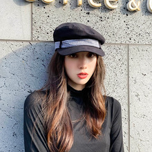 Berethat for women casual flat top with bow navy hats Autumn Winter vintage fashion British check hats for women Octagonal cap