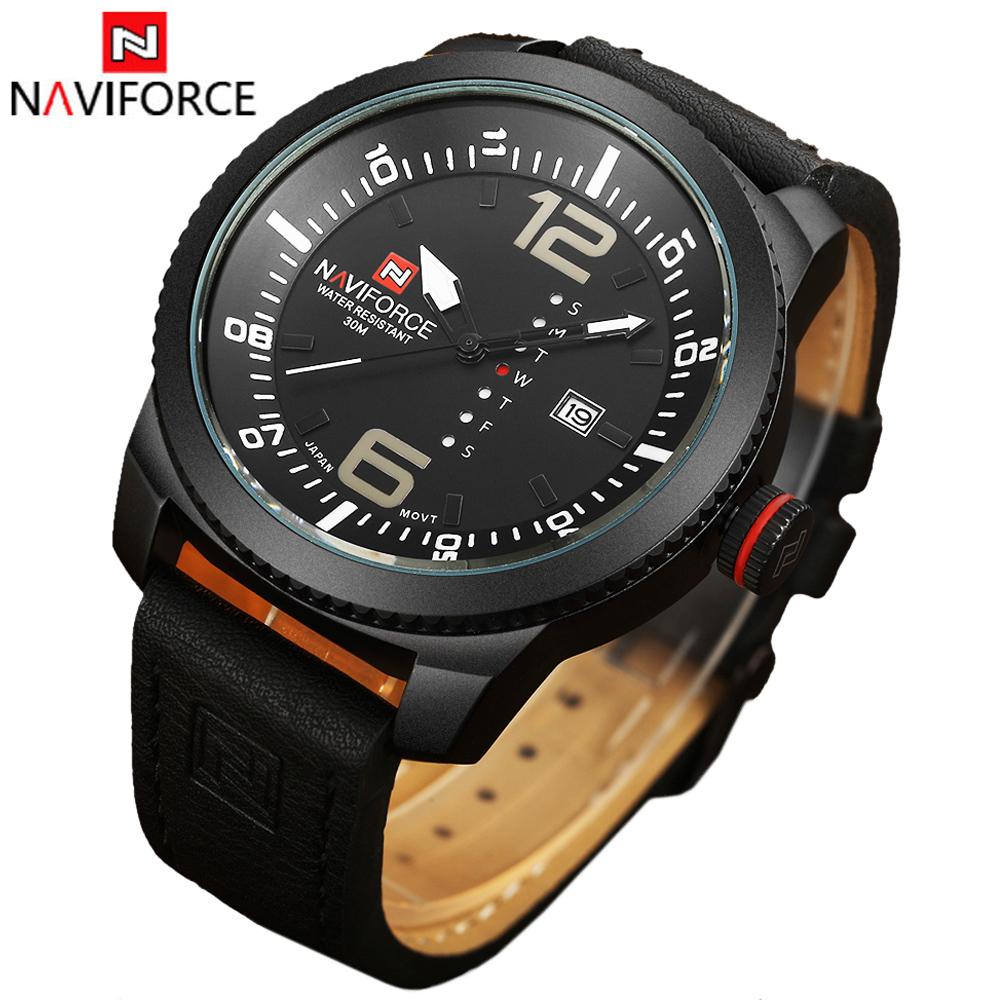 Prix pour Naviforce montre hommes quartz - montre horloge hommes marque de luxe en cuir armée militaire montre - bracelet relógios masculinos reloj hombre 2016
