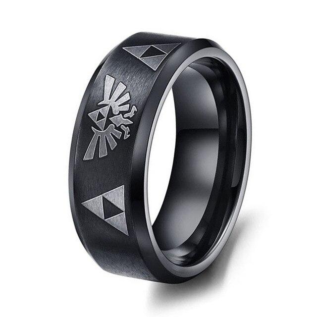 Горячие Продажи ЛЕГЕНДА О ZELDA Кольцо Матовый Черный мужская Titanium Сталь Обручальное Кольцо Для Мужчины и Женщины