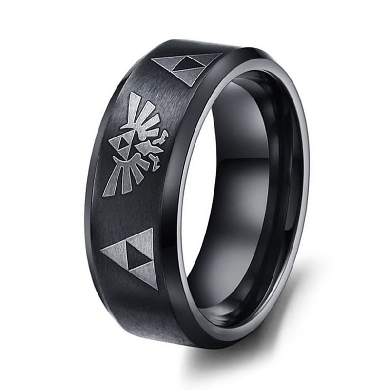 Hot Sale LEGEND Of ZELDA Ring Full Black Mens Titanium