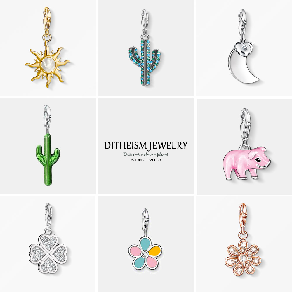 Cactus Charms Pendant,2018 Fashion Jewelry 925 Sterling Silver Trendy Ethnic Gift For Women Girls Fit Bracelet Necklace Bag @