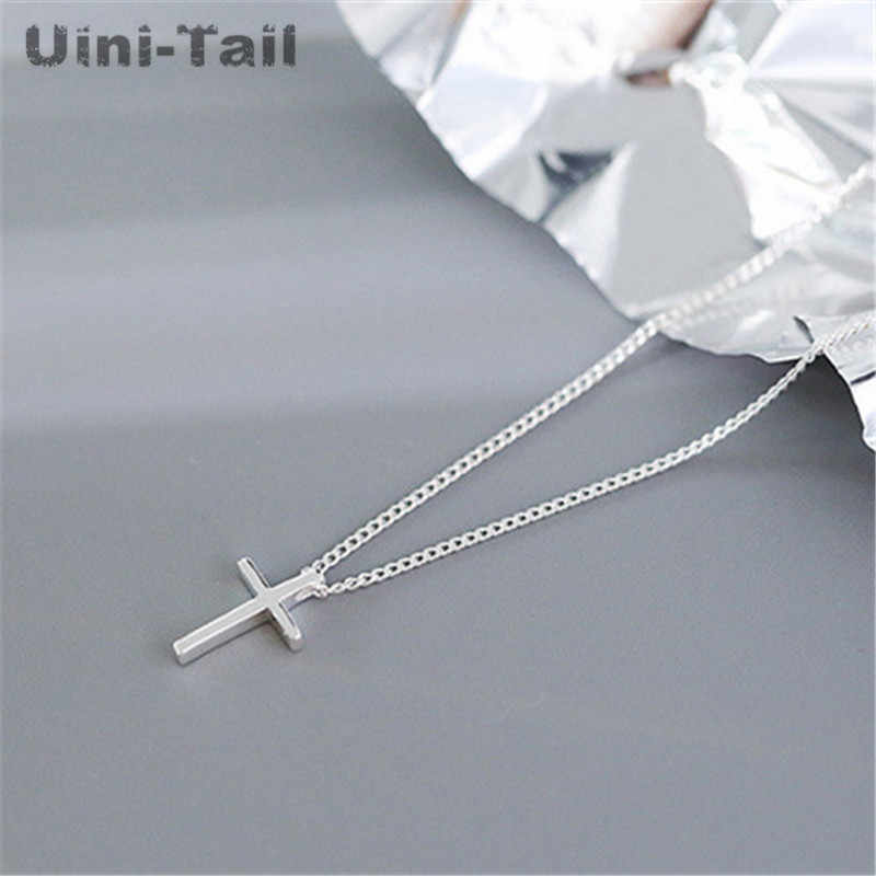 Uini-Tail hot new 925 sterling silver cross simple pendant necklace Japan and South Korea fashion trend wild student jewelry