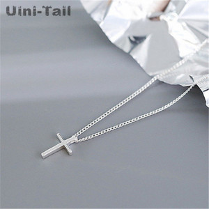 Uini-Tail hot new 925 sterling silver cross simple pendant necklace Japan and South Korea fashion trend wild student jewelry(China)