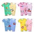 2 Pieces / Lot Baby Rompers Baby Boys Girls Cotton Short Sleeved Jumpsuits Sleeveless Rompers Infant Clothing Sets 2016 New V49