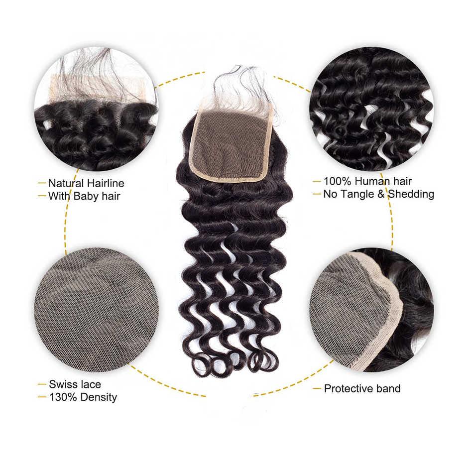 ALI BFF-mechones sueltos de onda profunda, con cierre, extensiones de cabello humano mechones Remy, extensiones de pelo ondulado mechones malasio con cierre