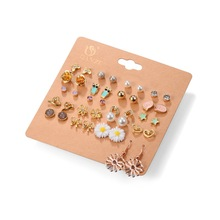20 Pairs/Pack Alloy Bow knot Pearl Crystal Stud Earrings Piercing Earrings Set for women Elegant Jewelry Fashion  Gifts