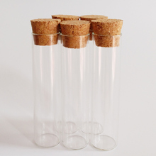 цены 24pcs/lot 6ml glass test tube 16*65mm flat clear glass bottle with cork laboratory test tube wishing glass vials Home crafts