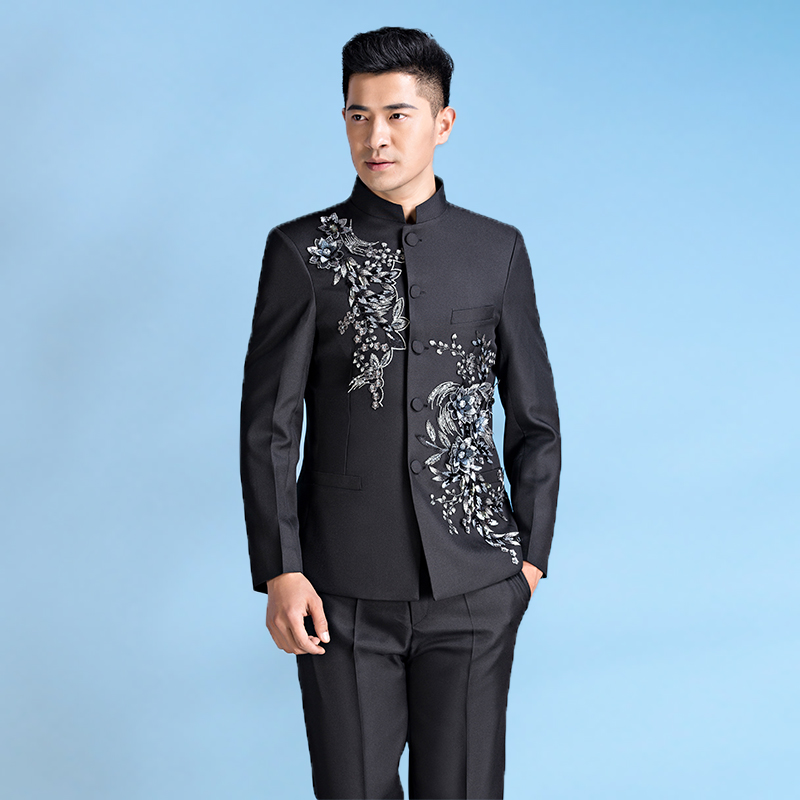 Chinese Tunic Suit Mens Stand Collar Men's Flower Clothing Slim Chinese Style Mens Wedding Groom Wear Costume Homme Black White