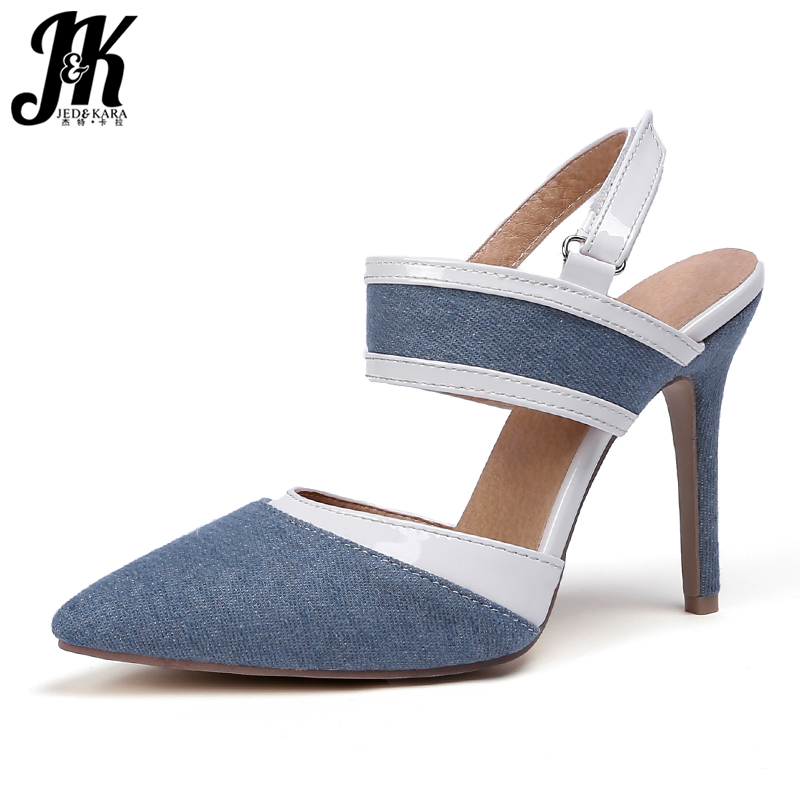JK Denim High Heels Sandals Women Pointed Toe Hook Footwear Fashion Party Female Sandal 2019 Summer Shoes Woman Plus Size 32-47JK Denim High Heels Sandals Women Pointed Toe Hook Footwear Fashion Party Female Sandal 2019 Summer Shoes Woman Plus Size 32-47