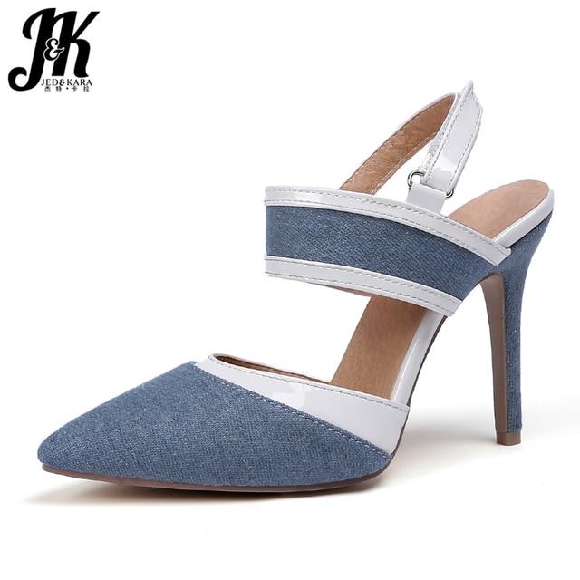 JK Denim High Heels Sandals Women Pointed Toe Hook Footwear Fashion Party Female Sandal 2019 Summer Shoes Woman Plus Size 32-47