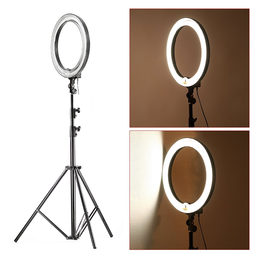 Neewer Flash light kit Fluorescent adjustable: 600W / 5500K Ring Light Selfie +260cm aluminum resistance light stand