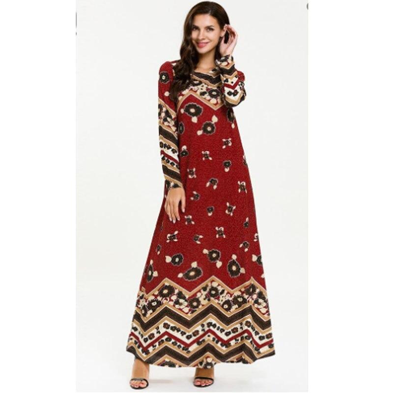 Flower Print Long sleeve Arab long dress clothes,ankle dress for dubai kaftan anarkali frocks gowns retail Wholesale