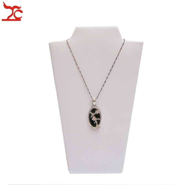 Jewelry Display Props White Leatherette  Necklace Jewelry Stand Foldable Pendant Easel Holder 12*22.5CM S
