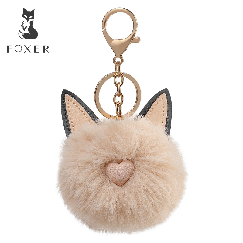 Foxer Brand Plush Pendant & Keychain Hanging Ornament Lightweight Organizers For Handbag Car Keychain Fur Pendant