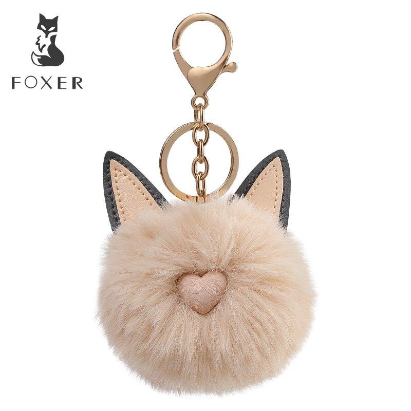 Foxer Brand Plush Pendant & Keychain Hanging Ornament Lightweight Organizers For Handbag Car Keychain Fur Pendant