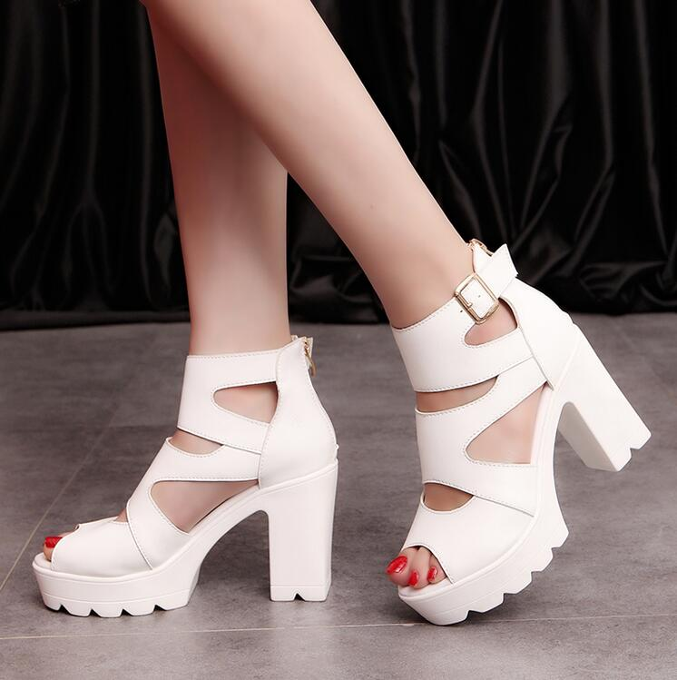 2017 Women Summer shoes white Black fashion platform soft PU sandals women high-heeled shoes thick heel sandals free shipping 2015 women summer shoes fashion thick heel office sandals women s high heeled shoes cover heel sandals for ladies dmz3119 1
